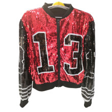 2019 Baseball Fashion Design Women Custom Bomber Sequin Jacket Wholesale(China)
