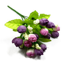 One Pack Artificial Rose Flowers Bouquet 15 Heads Mini Rose Colorful Silk Flowers Artificial Flower Home Decor For Wedding Small(China)