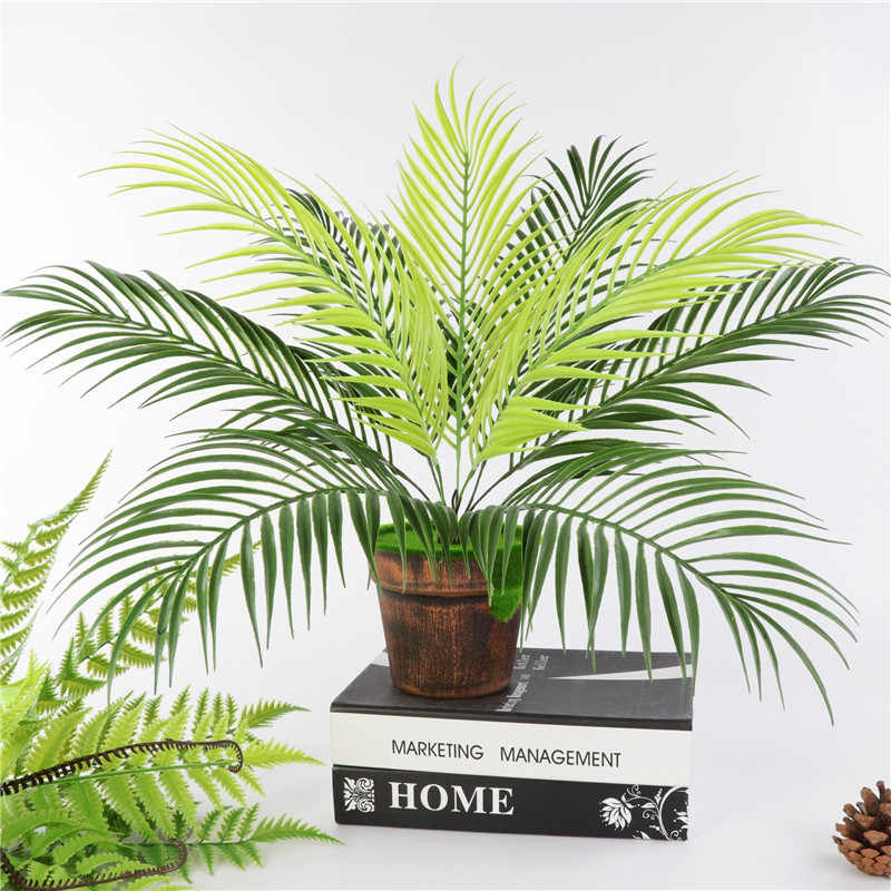Artificial Palm Leaf Bush Greenery Plants Faux Fake Tropical Palm Fronds Plant 9 Leaves Palm Tree For Home Party Wedding Decor Artificial Plants Aliexpress