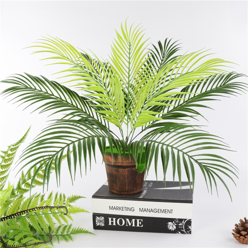 Artificial Palm Leaf Bush Greenery Plants Faux Fake Tropical Palm Fronds Plant 9 Leaves Palm Tree For Home Party Wedding Decor