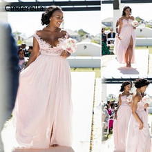 Cinderella Scoop Cap Sleeves Floor Length A-Line Chiffon Lace Applique Bridesmaid Dresses Wedding Party Gowns
