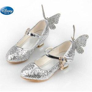 Image 2 - Congelado elsa princesa sapatos primavera e outono modelos rosa azul sapatos infantis elsa meninas saltos altos 26 38