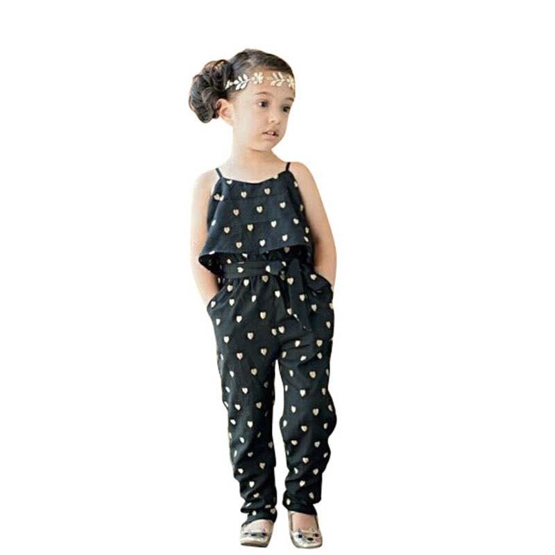 a6c6f033d2f1a أزياء الأطفال طفل الفتيات الصيف قلب نمط بذلة رومبير السراويل مع حزام ملابس