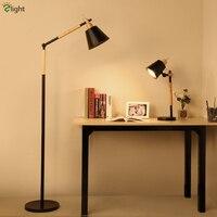 Nordic 2 Color Simple Modern Minimalism Metal Rotatable Led Floor Lamp Korea Study Room Solid Wood