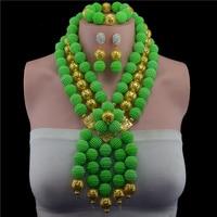 New Xanh/Hồng Plastic Trân Bóng Neclaces Phụ Nữ Jewelry Nigeria Hạt Wedding Phi Jewelry Đặt Miễn Phí Vận Chuyển