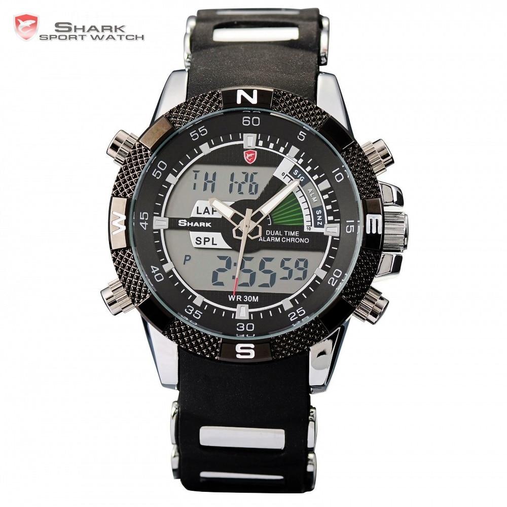 4cd01e1fe50e ... pulsera para hombre   SH042. Cheap El marrajo SHARK reloj deportivo  negro militar relogio digital analógico doble de tiempo alarma silicona