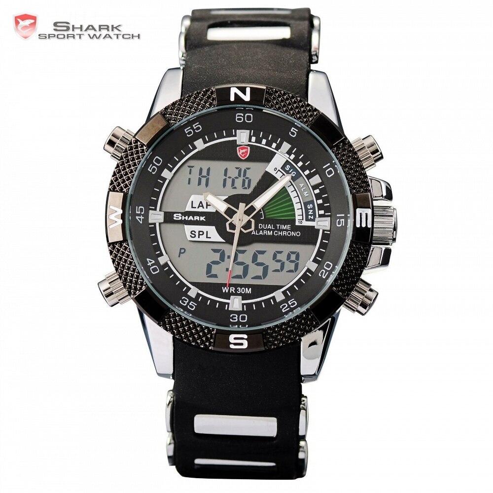 2c99cc1cb4d Porbeagle SHARK Sport Watch Relógio Militar Digital Analógico Duplo Tempo  Alarme Preto Borracha Quartzo Relógio de Pulso Homens Relógios SH042 em  Relógios ...