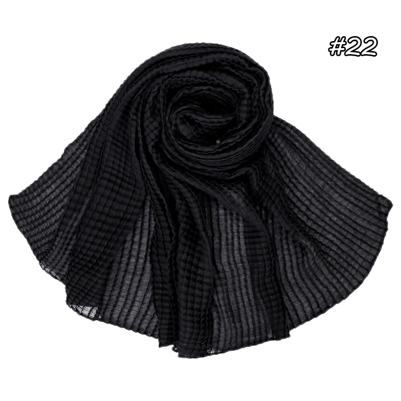 Solid color crinkle hijab women cotton scarf fashion plaid shawl muslim  hijabs wrap head scarves soft maxi pashmina 180*80cm