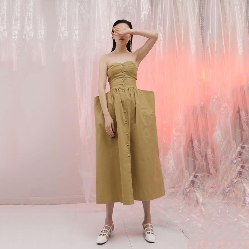Corée 2018 Casual longueur Femmes hg Féminine Khaki Solide Sans Kzh278 D'été Couleur Nouveau Cheville Bretelles Mode Manches Robe xEHwACqw