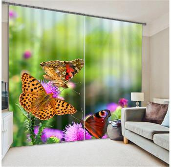 Modern Fashion Butterfly Printing 3D Blackout Curtains For Bedding room Living room Hotel Drapes Cortinas Para Sala