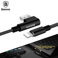 Baseus L Bending USB Cable for iPhone 5 6s 7 90 Degree Right Angle USB Charger Cable for Apple iPad Data Sync USB Charging Cable