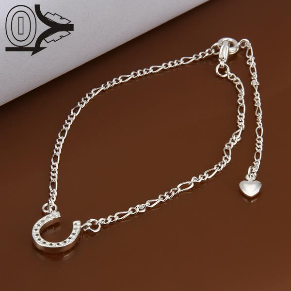 Lose Money!!Wholesale Silver Plated Anklets,Fashion Silver Foot Jewelry,Inlaid Stone U Shaped Anklets For Women