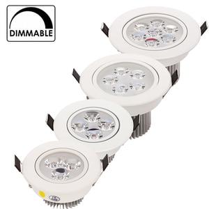 Image 1 - 20 adet/grup toptan 3W 4W 5W 7W LED gömme tavan Downlight AC85 265V beyaz kabuk saf/doğal/sıcak beyaz