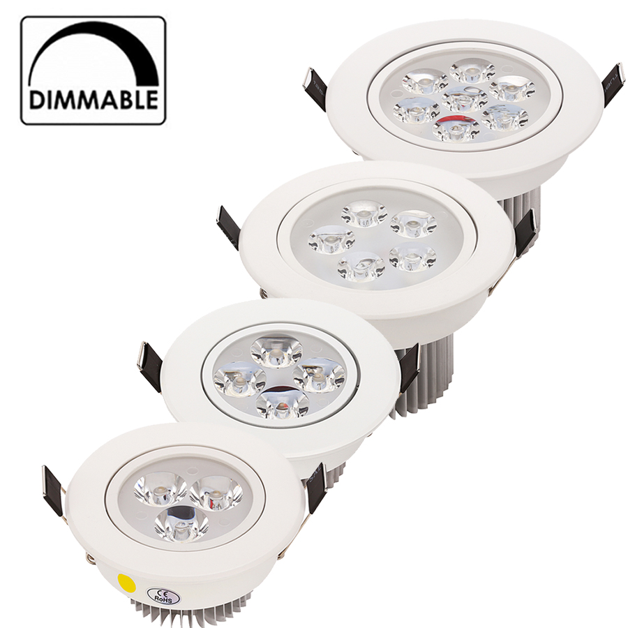 20pcs / lot Wholesale 3W 4W 5W 7W LED vertiefte Decke Downlight AC85-265V Weißoberteil reines / natürliches / warmes Weiß
