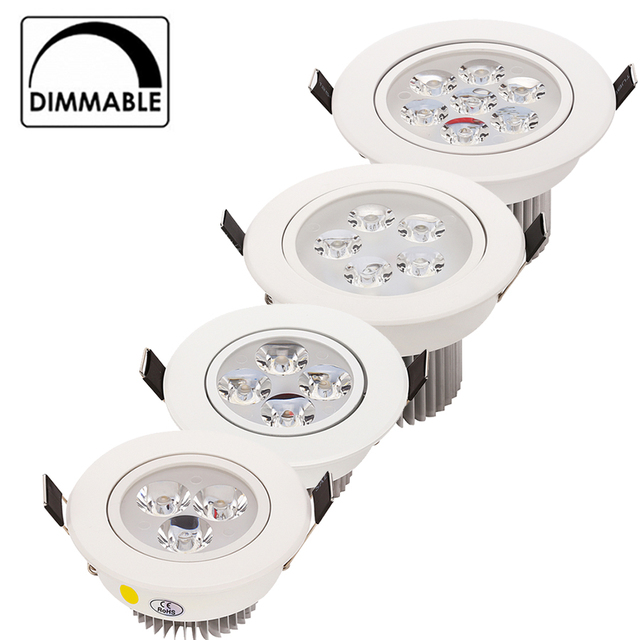 20pcs/lot Wholesale 3W 4W 5W 7W LED recessed ceiling Downlight AC85 265V White shell Pure/ Natural/ Warm white