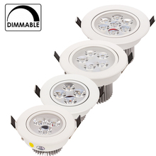 20pcs/lot Wholesale 3W 4W 5W 7W LED recessed ceiling Downlight AC85-265V White shell Pure/ Natural/ Warm white
