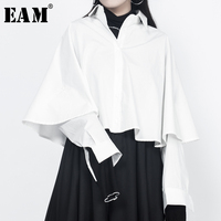 EAM 2018 New Spring Lapel Long Sleeve Split Joint White Loose Big Size Short Shirt