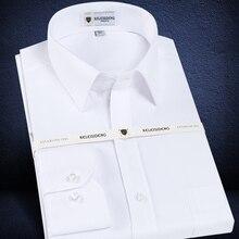 Manga longa masculina padrão ajuste sólido básico vestido camisa remendo único bolso de alta qualidade formal social branco trabalho escritório camisas