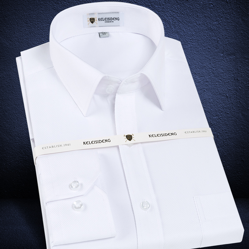 Men's Long Sleeve Standard-fit Solid Basic Dress Shirt Patch Single Pocket High-quality Formal Social White Work Office Shirts