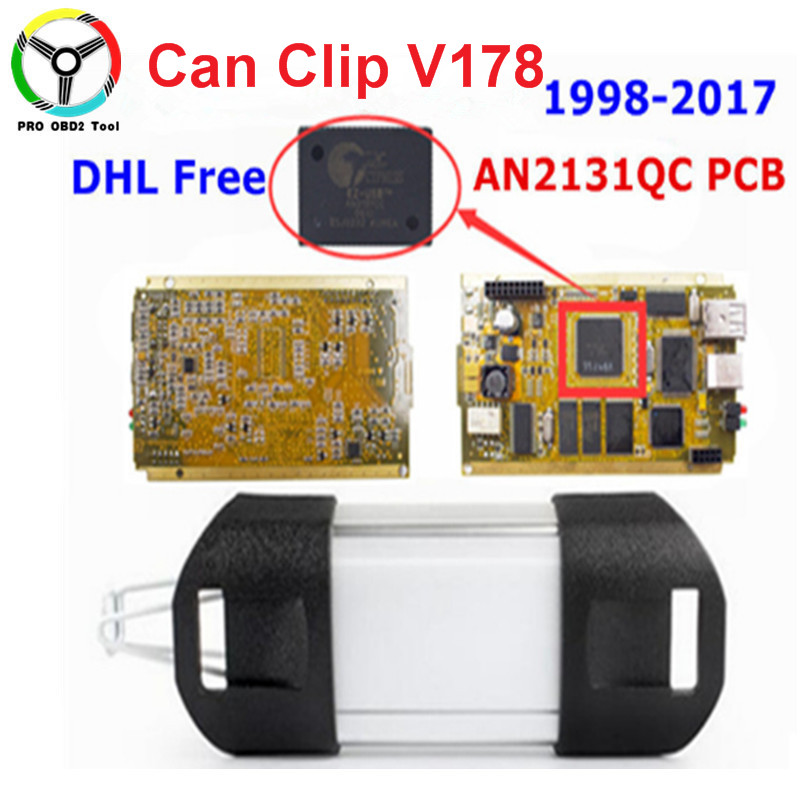DHL Free Can Clip CYPRESS AN213Q Newly V178+Reprog V151 ODB2 Auto Diagnostic Tool Woth Gold PCB For 1998-2017 for renault can clip v178 full chip cypress an2131qc reprog v151 obdii diagnostic interface can clip car diagnostic tool scanner