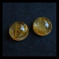 Natural Stone Sale 1 Pair Round Shape Gold Rutilated Quartz Cabochons 8 4mm 0 9g Semiprecious