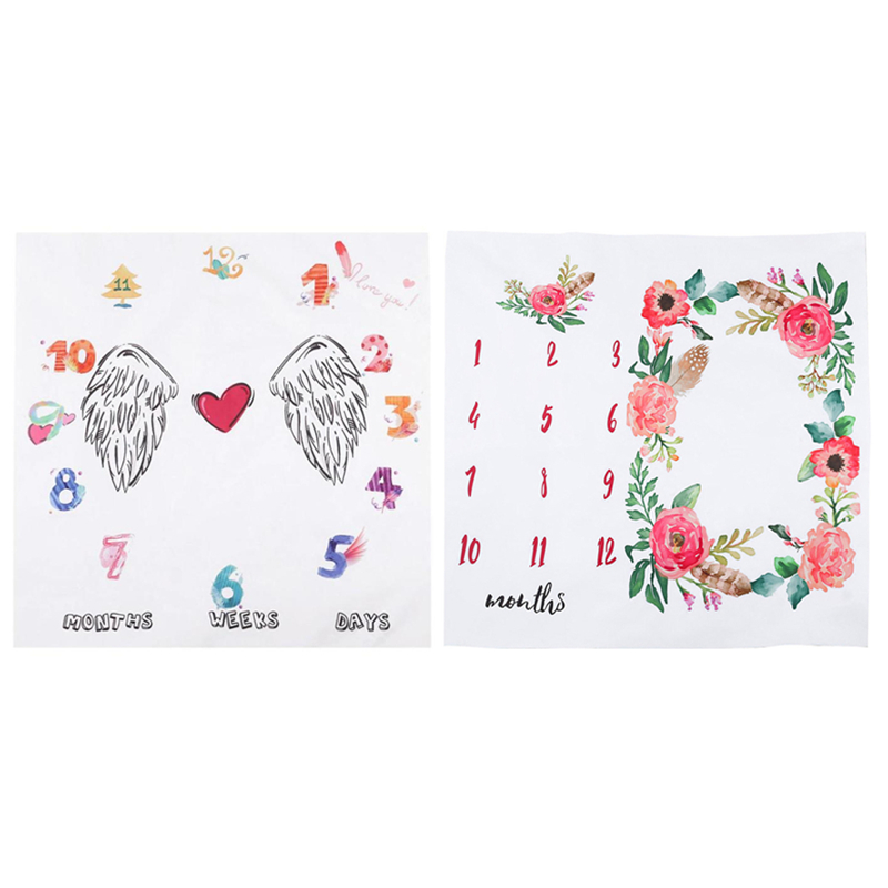 100*100cm Newborn Baby Blanket Swaddle Wrap Bath Towel Wing Flower Printed Infant Kids Photo Photography Props Backdrop Cloth