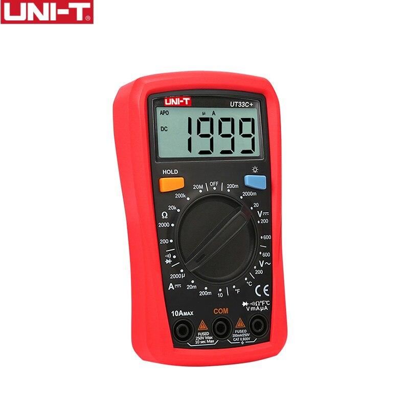 UNI-T UT33C + Multimètre Numérique Automatique Gamme Palm Taille AC DC Voltmètre Ampèremètre Résistance Capatitance Testeur