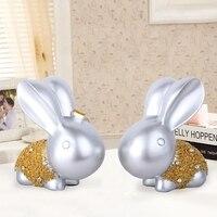 2018 Modern Easter Rabbit Home Decoration Solid Resin Rabbit Craft Sets Wedding Gift Rabbit Bunny Home Decoration Statue