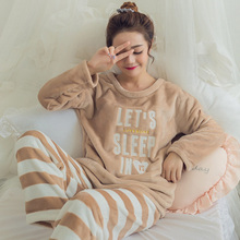 Flannel Thick Fleece Warm Women s Pajamas Set O neck Cartoon Pullover and Long Trousers Women