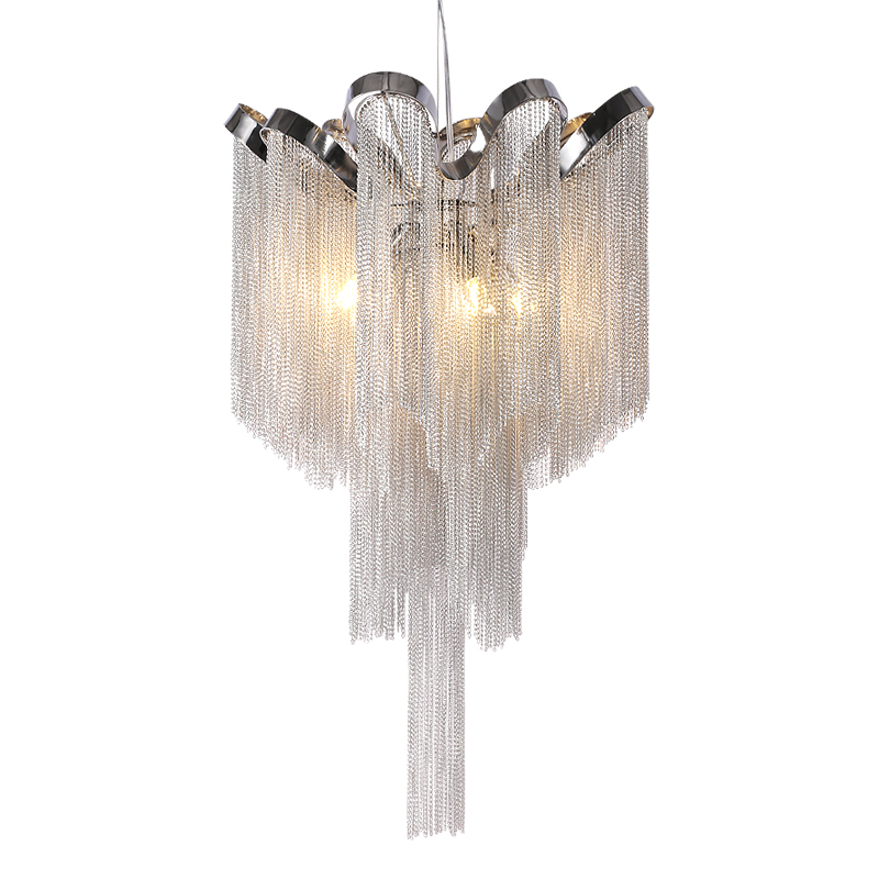 Modern Silver Tassel Aluminum Chain Chandelier  for Living Dining room home deco-in Chandeliers from Lights & Lighting