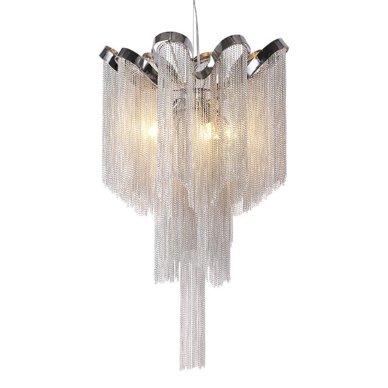Moderna Argento Nappa Catena In Alluminio Lampadario per Soggiorno sala da pranzo di casa deco