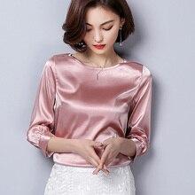 1652c9efaf3c2 2019 Spring pink satin shirts women office o-neck blouses lady work wear  silk satin