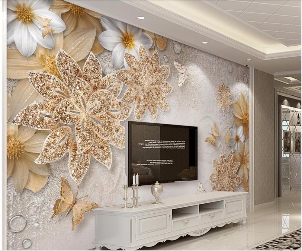 Custom Photo 3d Wall Cloth Mural Home Improvement Golden Jewelry Flower Butterfly Tv Background Wall Silk Fabric 3d Print Fabric