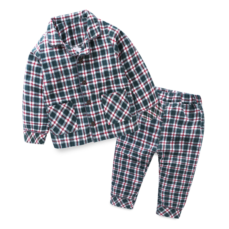Mudkingdom Bébé Garçons Filles Coton Plaid Pyjamas Ensembles Enfants Pleine Longueur Accueil Vêtements Automne Turn-down Col Vêtements Pour Enfants