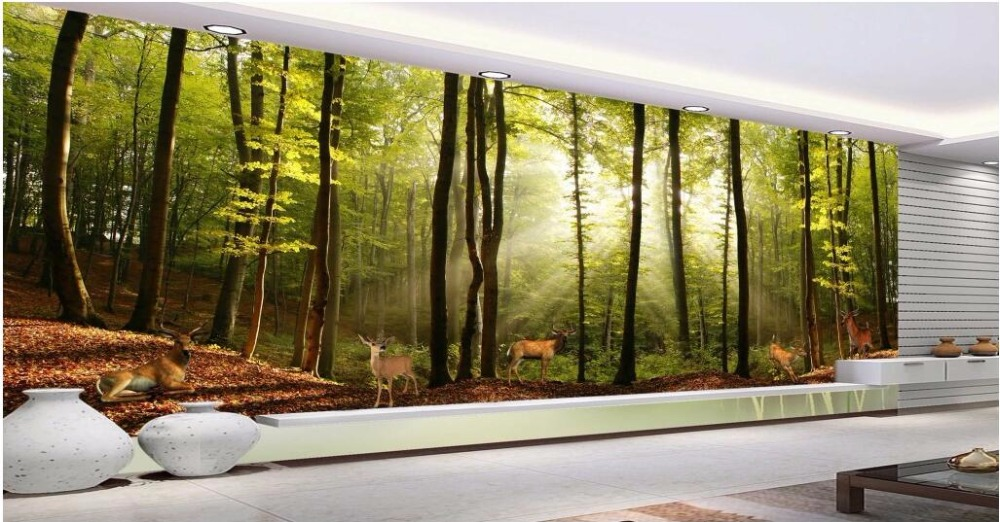 Custom photo mural 3d wallpaper Forest elk landscape woods room decoration painting 3d wall murals wallpaper for walls 3 d Обои