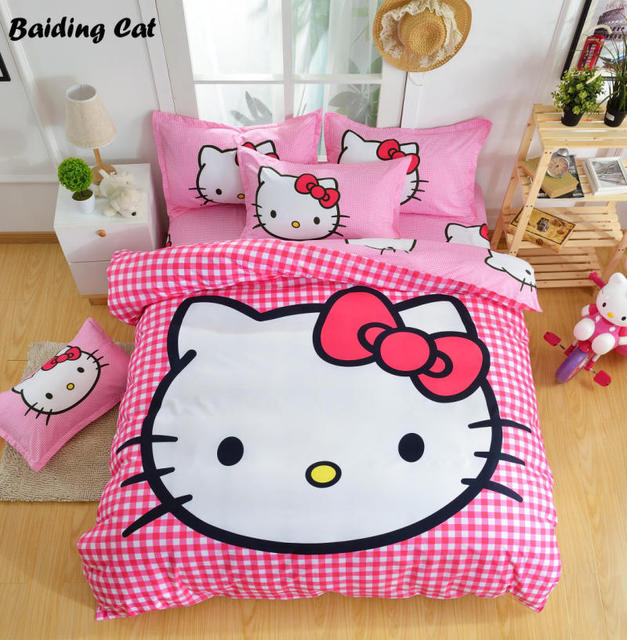 fashion cartoon plaid hello kitty bedding set child christmas gift bed linen duvet cover flat sheet