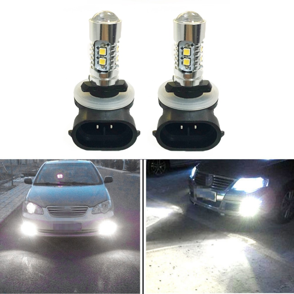 2 Pcs 881 10W 12V White LED Car Light Bulb 10 LEDs Bulbs High Power Fog Lamp Driving DRL Daytime Running Lights 886 898 896 889 2x new h7 80w high power led car auto driving fog tail headlight light lamp bulb white 12v