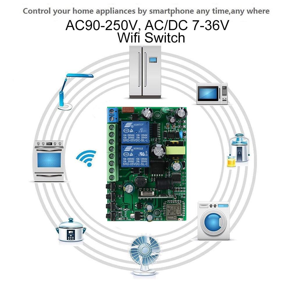 2CH Wifi relejni prekidač AC90V-250V 10A i AC / DC 7-36V 433 MHz - Pametna elektronika - Foto 4