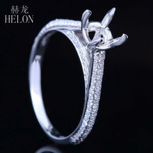 HELON Solid 14K White Gold Round Shape 6 7mm Semi Mount Fine Jewelry Pave Real Natural