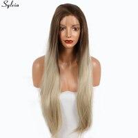 Sylvia Długi Prosto Medium Brown Blondynka Ombre Korzenie Peruki Syntetyczne Żaroodporne Włosy Naturalne Two Tone Kolor Koronki Przodu Peruka