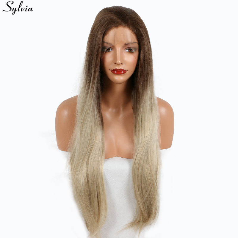 Sylvia Long Straight Medium Brown Blonde Ombre Roots Synthetic Wigs Heat Resistant Hair Natural Two Tone Color Lace Front Wig