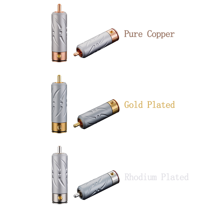 4Pc Copper Rhodium Plated Speaker Wire Cable Spade Terminal Connector Plug