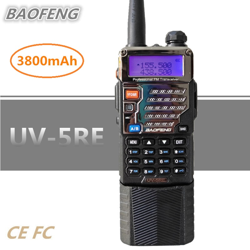 BAOFENG UV-5RE Two Way Radio 3800mAh Enlarged Battery UHF VHF Walkie Talkie Mobile HF Transceiver Sanner Radio Station UV-5RBAOFENG UV-5RE Two Way Radio 3800mAh Enlarged Battery UHF VHF Walkie Talkie Mobile HF Transceiver Sanner Radio Station UV-5R