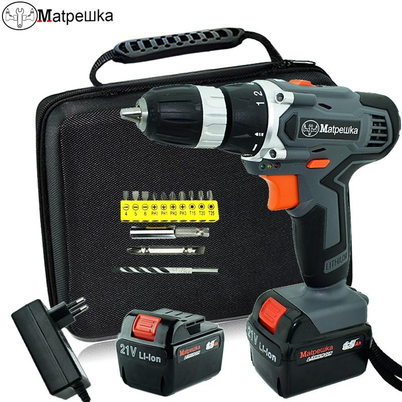 21 v trapano avvitatore elettrico multi-funzione ricaricabile casa trapano cordless trapano utensili elettrici 2 batterie + 13 regalo