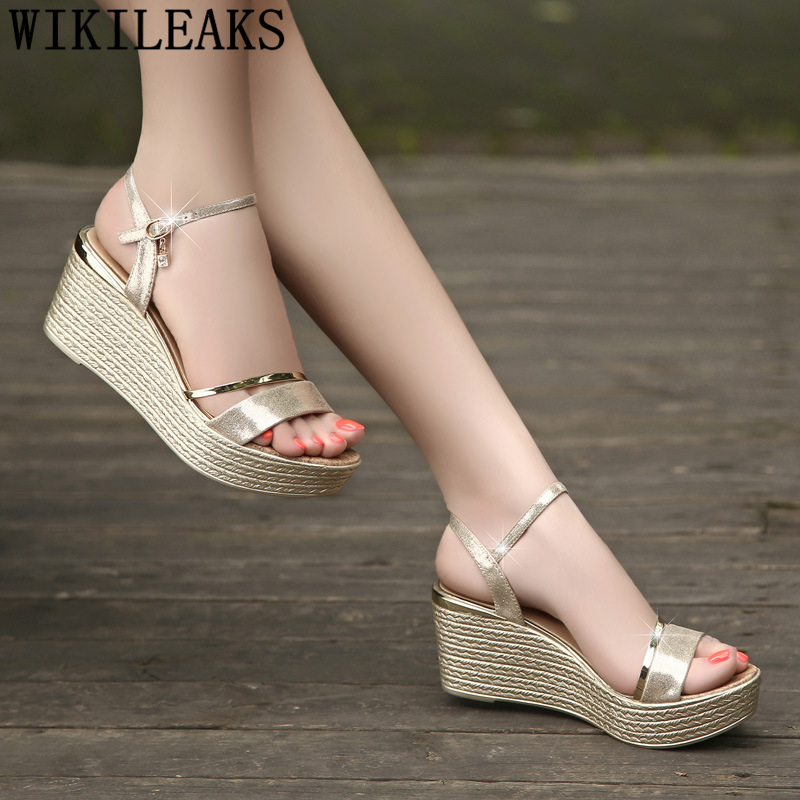 Wedges Shoes For Women Gold Sandals Women Platform Sandals High Heels Sandals Zapatos Mujer 2021 Shoes Woman Summer Ayakkabi