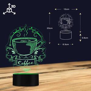 Image 4 - Angepasst Kaffee Logo Dekorative Beleuchtung Kunst Bunte Kaffee Haus Business Zeichen Koffein Cafe Logo 3D Led Nachtlicht Geschenk