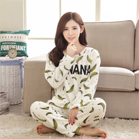 Women Home clothing Cartoon Flannel Long sleeved round neck Thickening winter pajamas Comfortable Coral cashmere Set