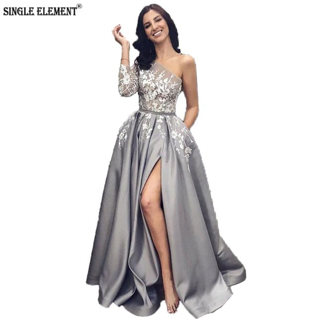 SINGLE ELEMENT Split   Prom     Dresses   Satin Lace Appliques One Shoulder Long Evening   Dresses   A-line Grey