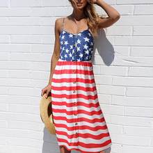 0b6bea291aee1 (Ship from US) Designer Dress Women Sundress Clothing American Flag Loose  4th Of July Sleeveless Tops Fashion Female Mini Dress Plus Size 2019