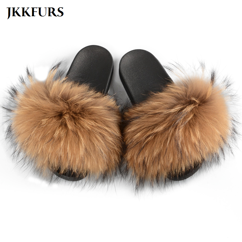 2019 Real Raccoon Fur Slippers Women Fashion Style Slides Spring Autumn Winter Indoor Flip Flop Flat